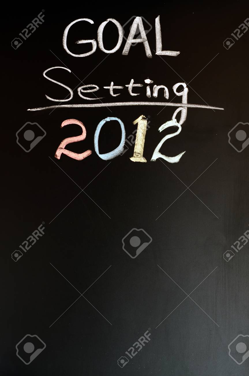 2012 New year goals written with chalk on a blackboard Stock Photo - 11690803