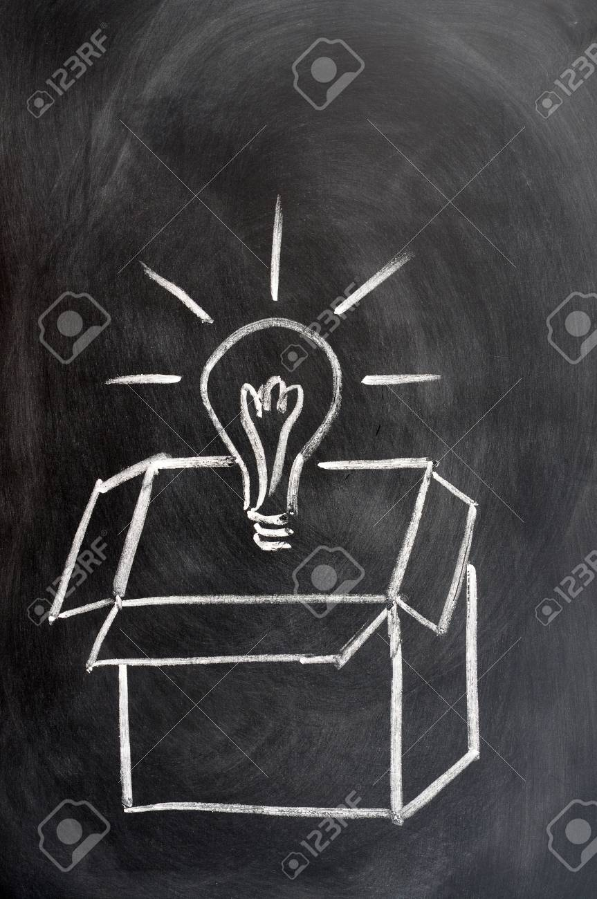 outside the box office. Stock Photo - Think Outside The Box Drawn In Chalk On A Blackboard Office C