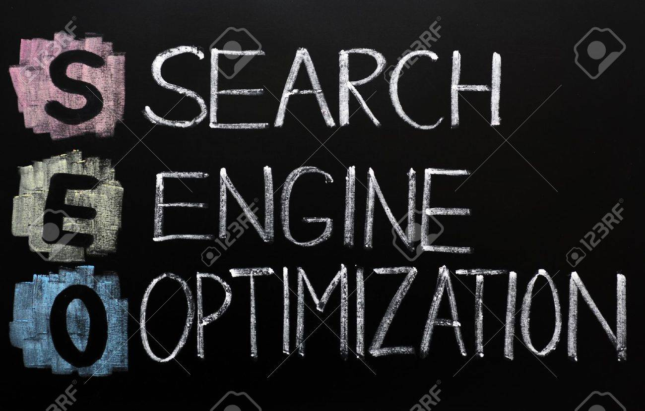 SEO acronym - Search engine optimization written on a blackboard Stock Photo - 11939393