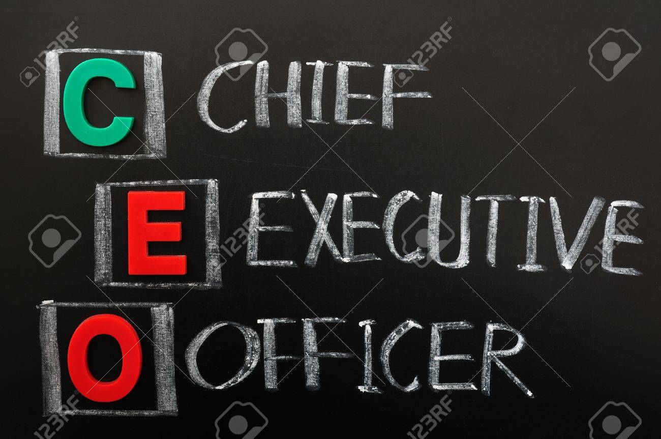Acronym of CEO - Chief Executive Officer written in chalk on a blackoard Stock Photo - 12389559
