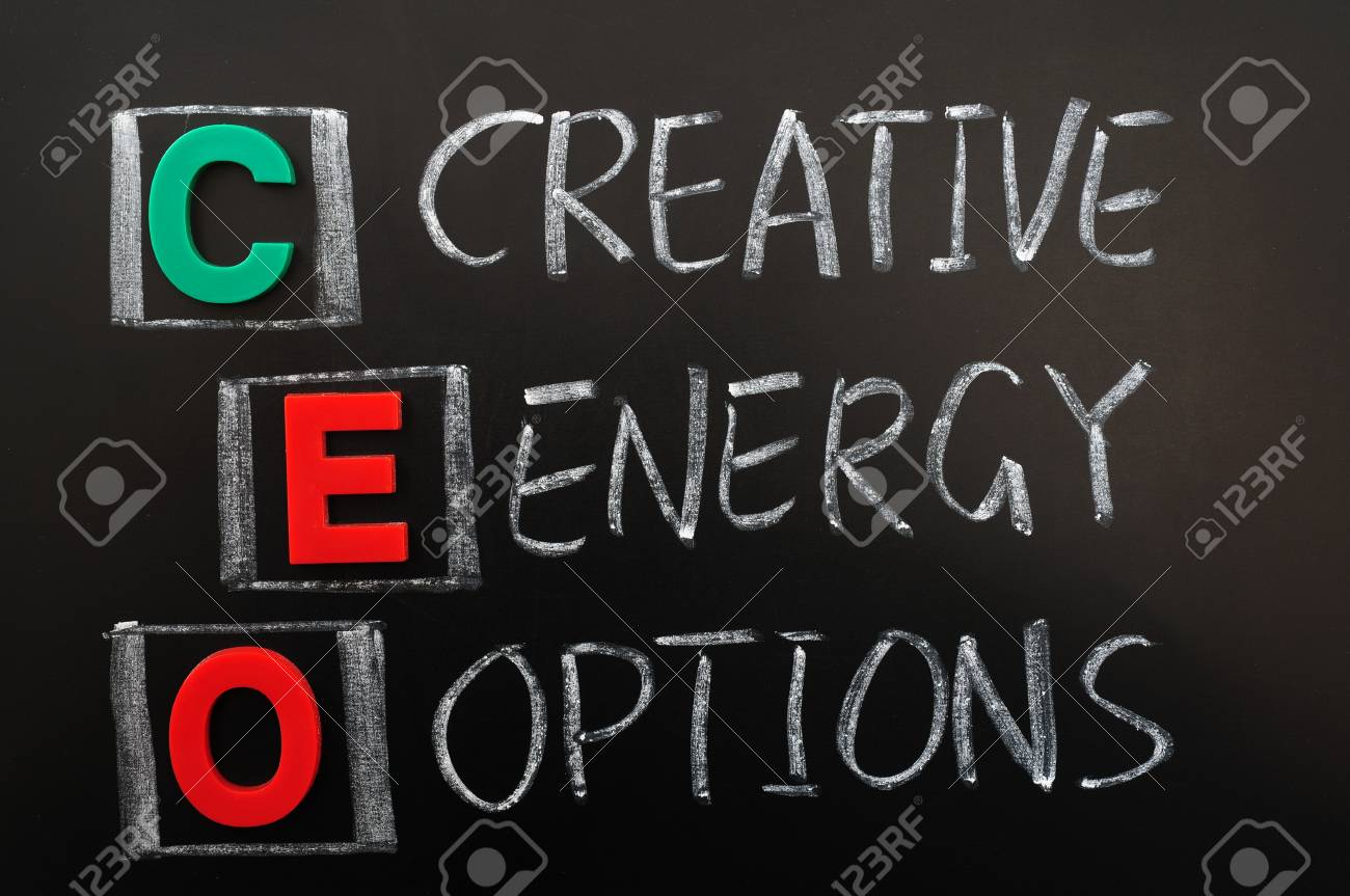 Acronym of CEO - Creative Energy Options written in chalk on a blackoard Stock Photo - 12389600