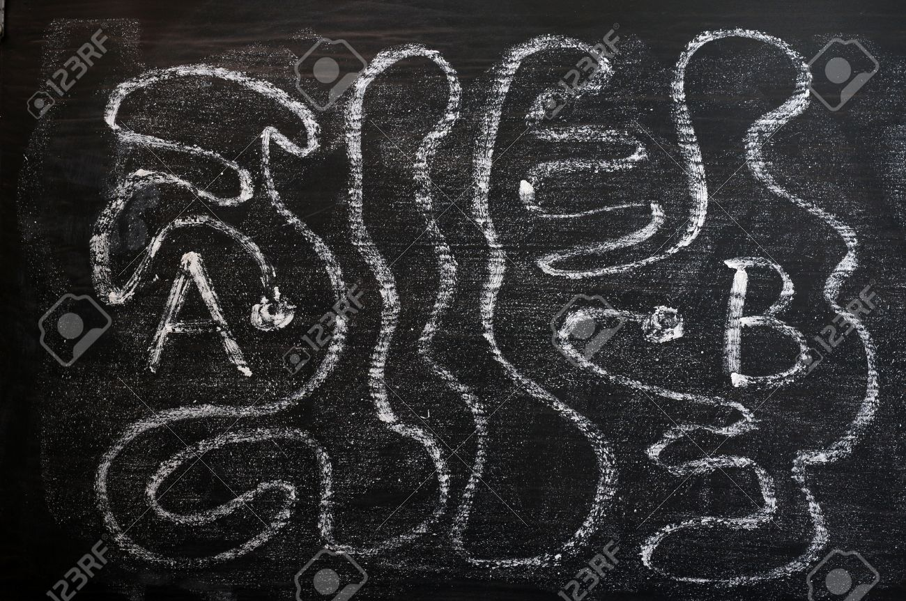 A maze of long way from A to B drawn with white chalk on a blackboard Stock Photo - 14080320