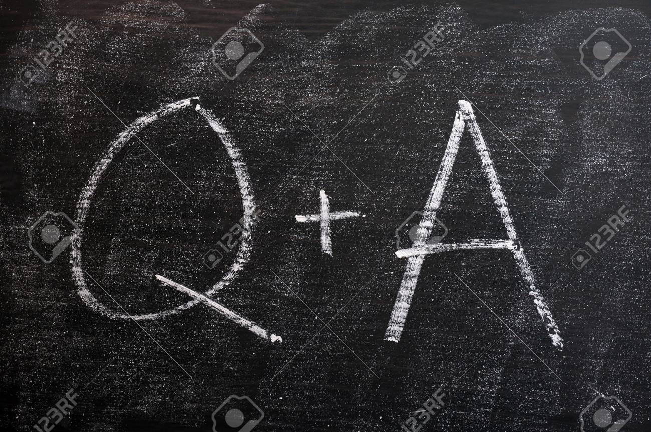 Question and Answer - symbols drawn with chalk on a smudged blackboard Stock Photo - 14080321