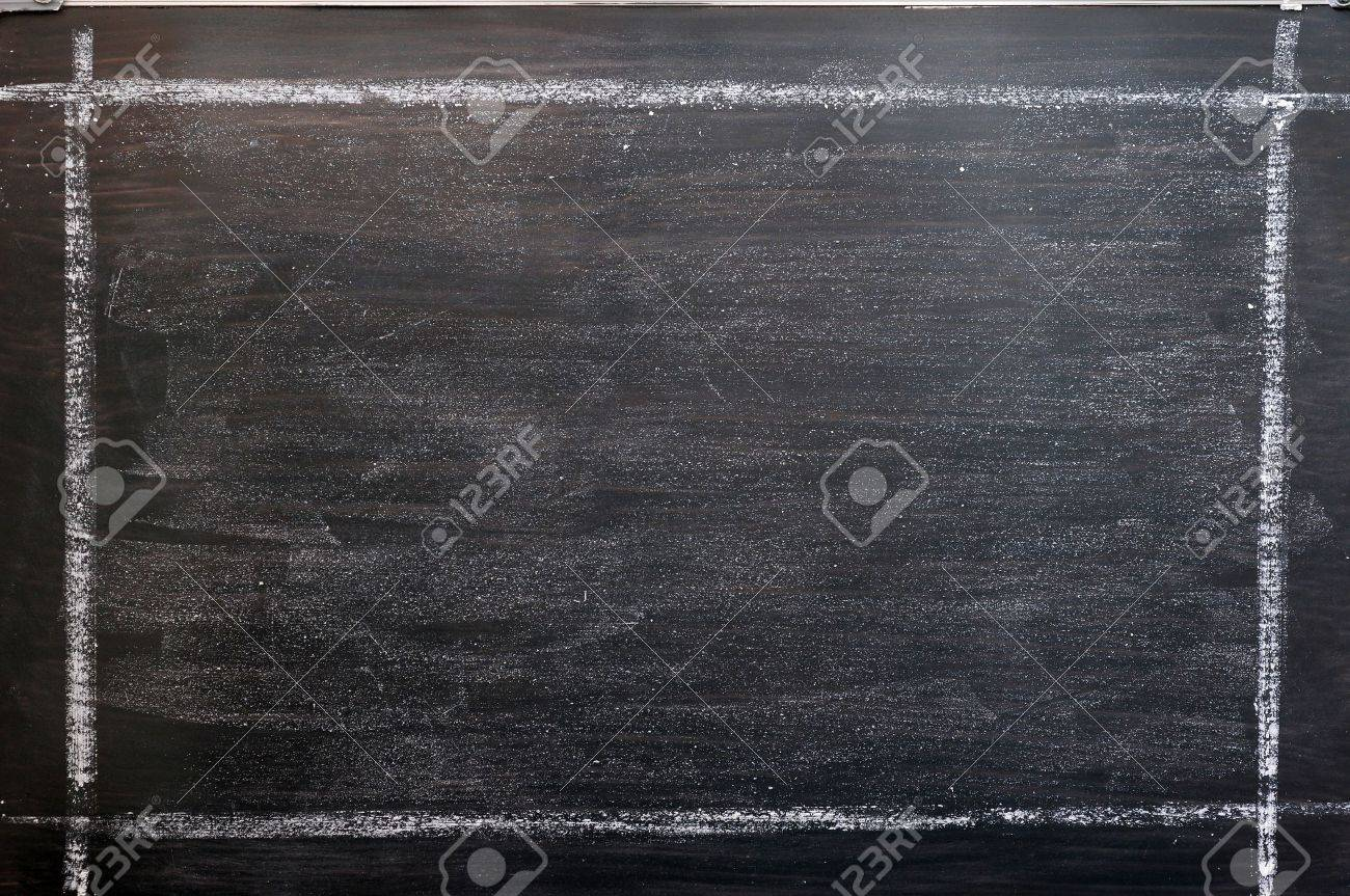 Smudged Chalkboard Background With A Chalk Drawing Frame Stock Photo