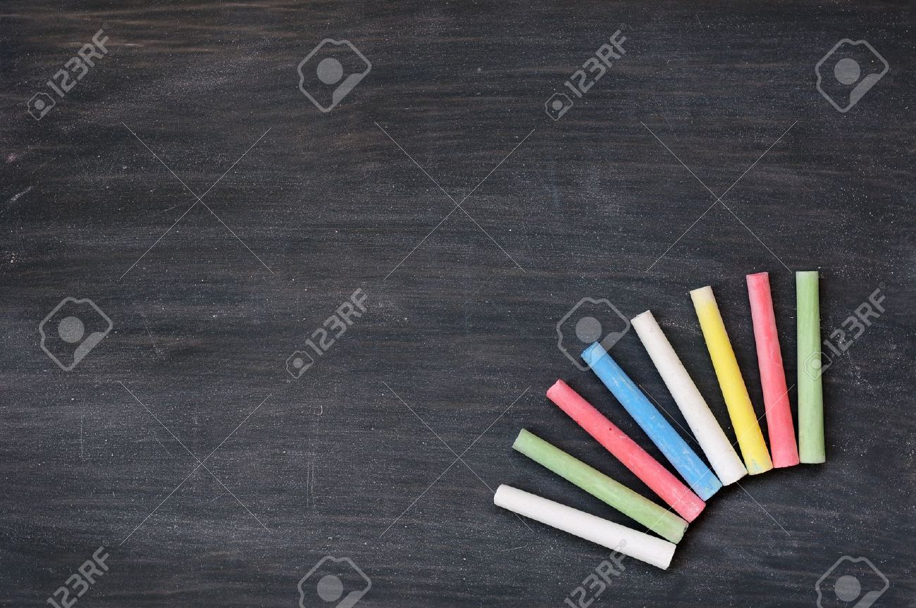 blank smudged blackboard background with colorful chalk for text