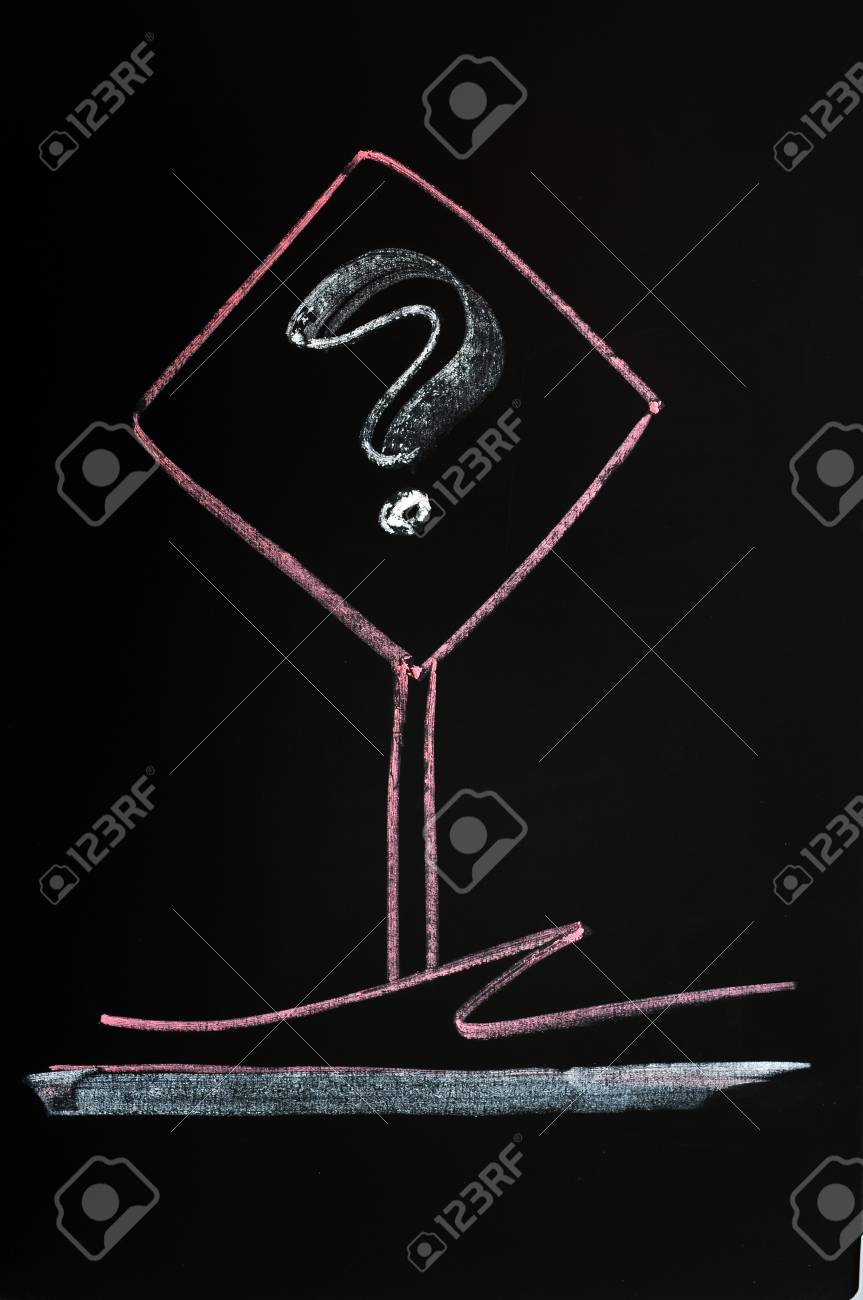 Question mark sign drawn with red chalk on a blackboard background Stock Photo - 14383634