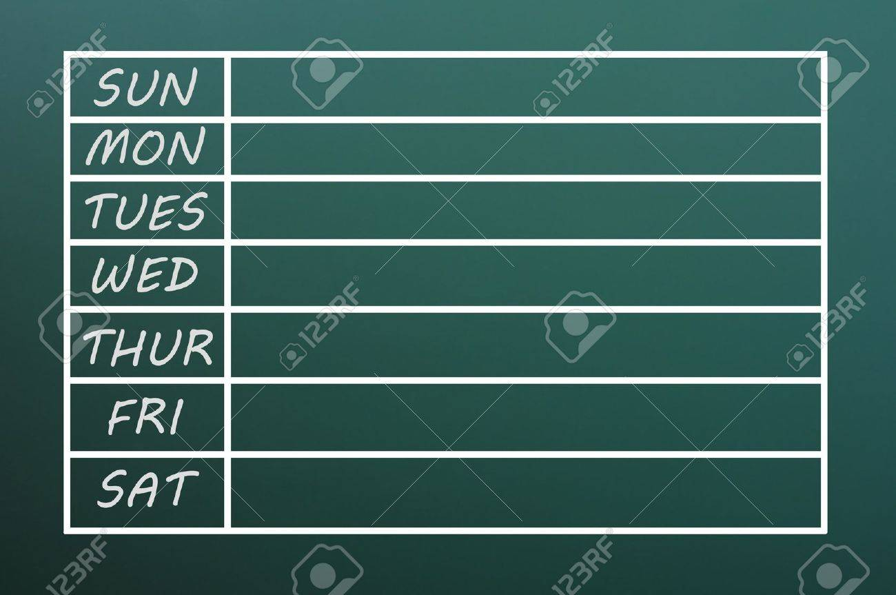 blank weekday calendar form written with chalk on a green chalkboard stock photo 14461997