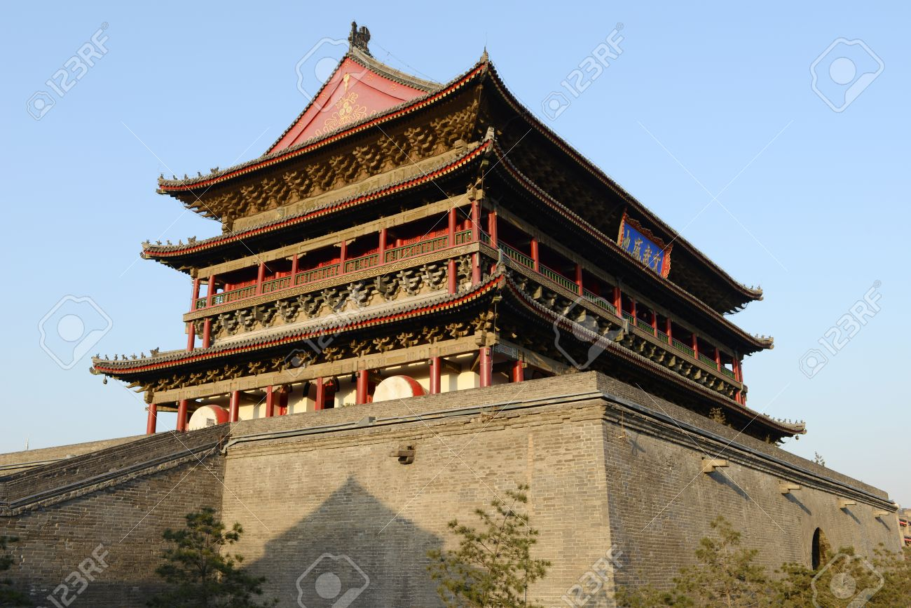 The Famous Chinese Ancient Building Of Drum Tower At The City
