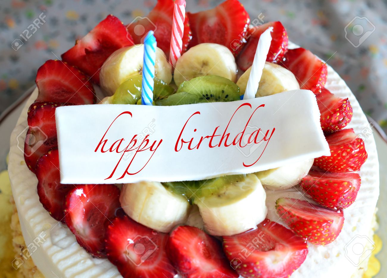 Birthday Cake With Happy Birthday Tag Stock Photo Picture And