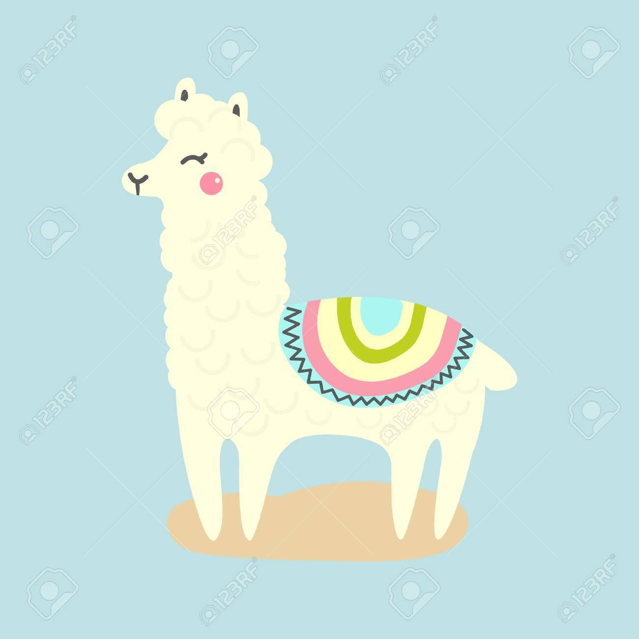 Vector Cute Llama Or Alpaca Illustration Funny Animal