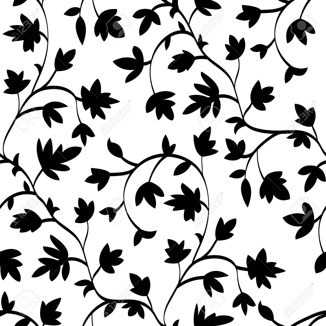 Seamless Floral Pattern With Branches And Leaves Abstract Texture