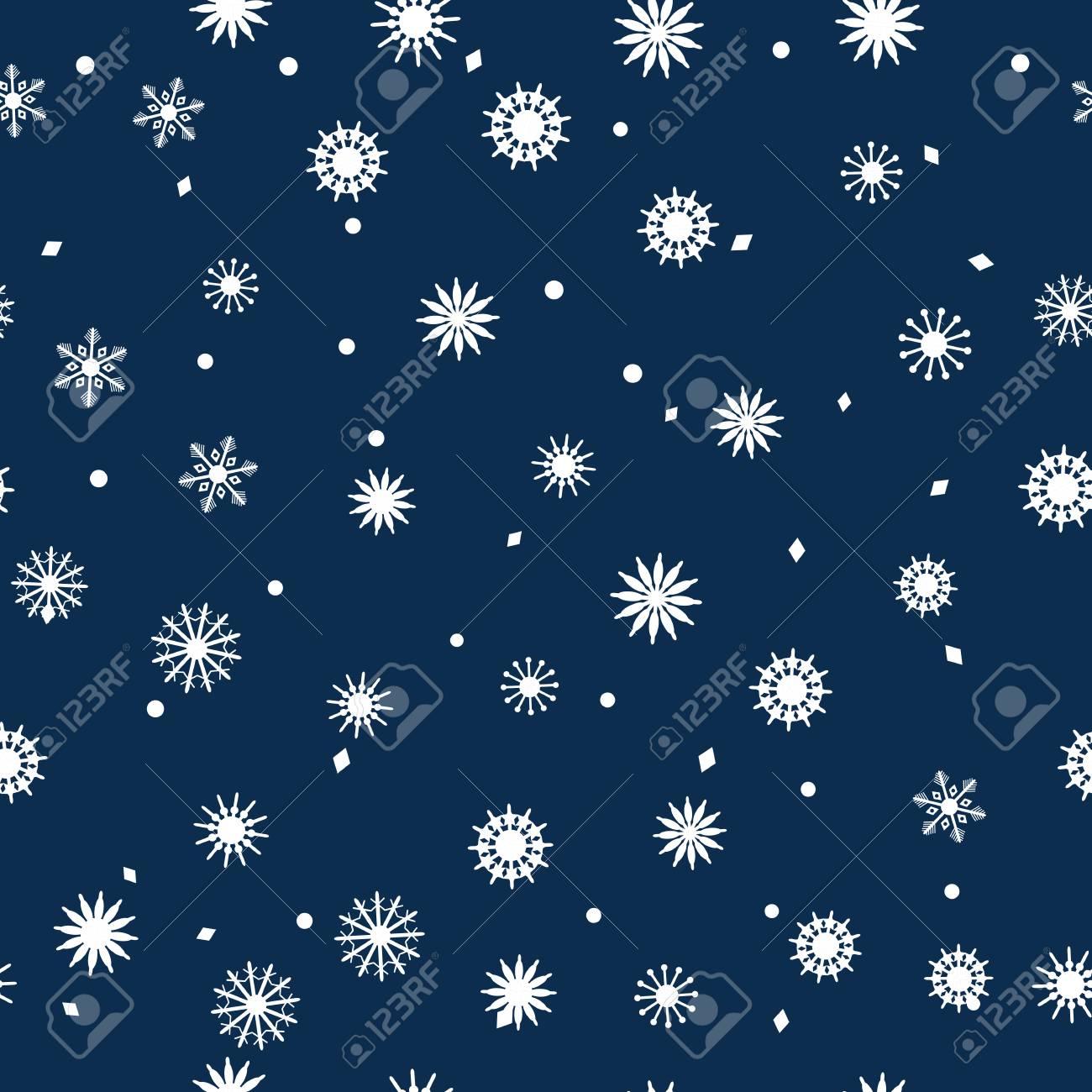 濃い青の背景に雪の結晶のシンプルなシームレス パターン 抽象的な壁紙 装飾をラップします 冬 メリー クリスマス 新年あけましておめでとうございますお祝いベクトル図のシンボルです の写真素材 画像素材 Image