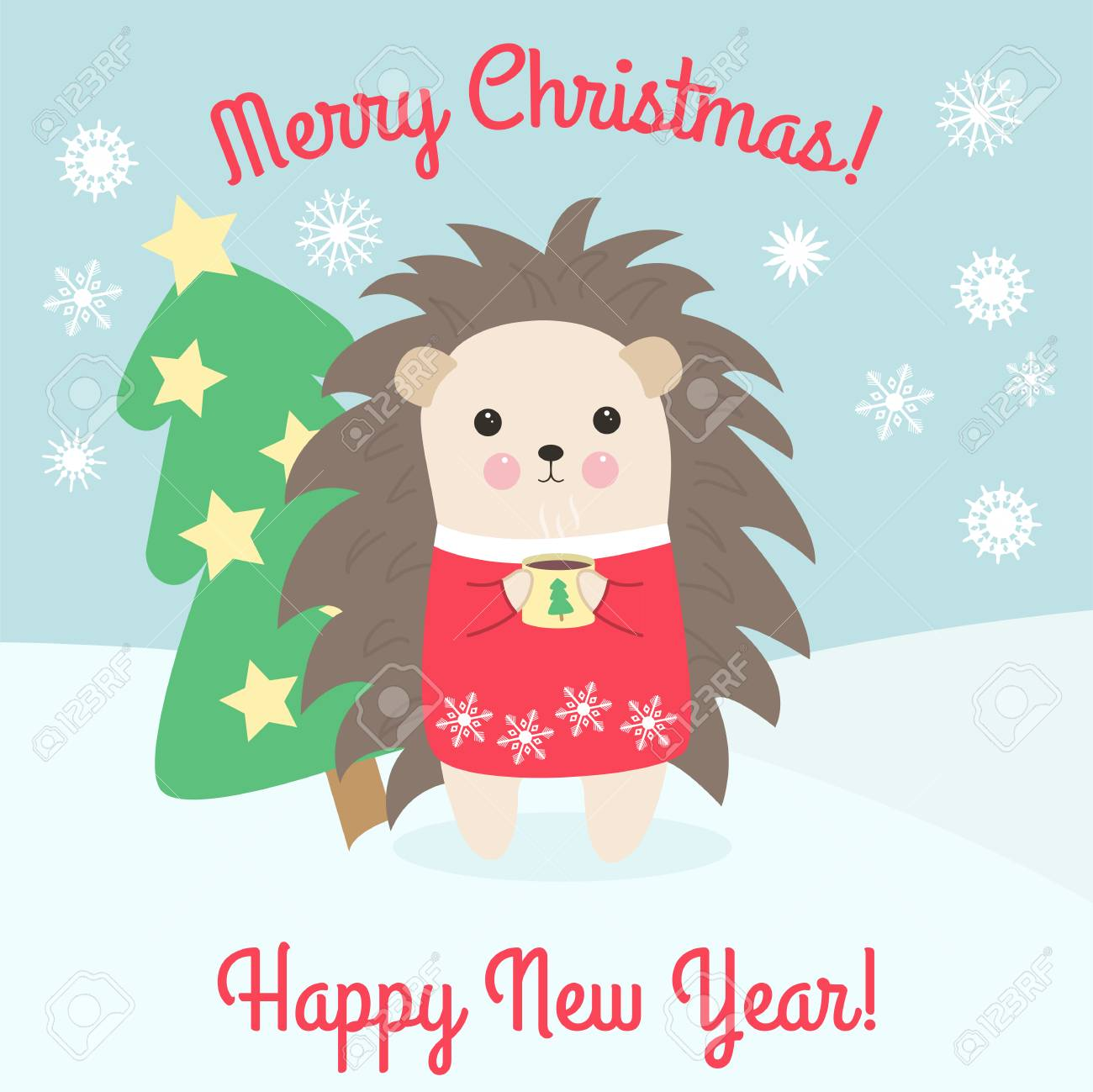 Hedgehog Christmas Jumper.Merry Christmas And Happy New Year Cute Hedgehog In A Red Christmas