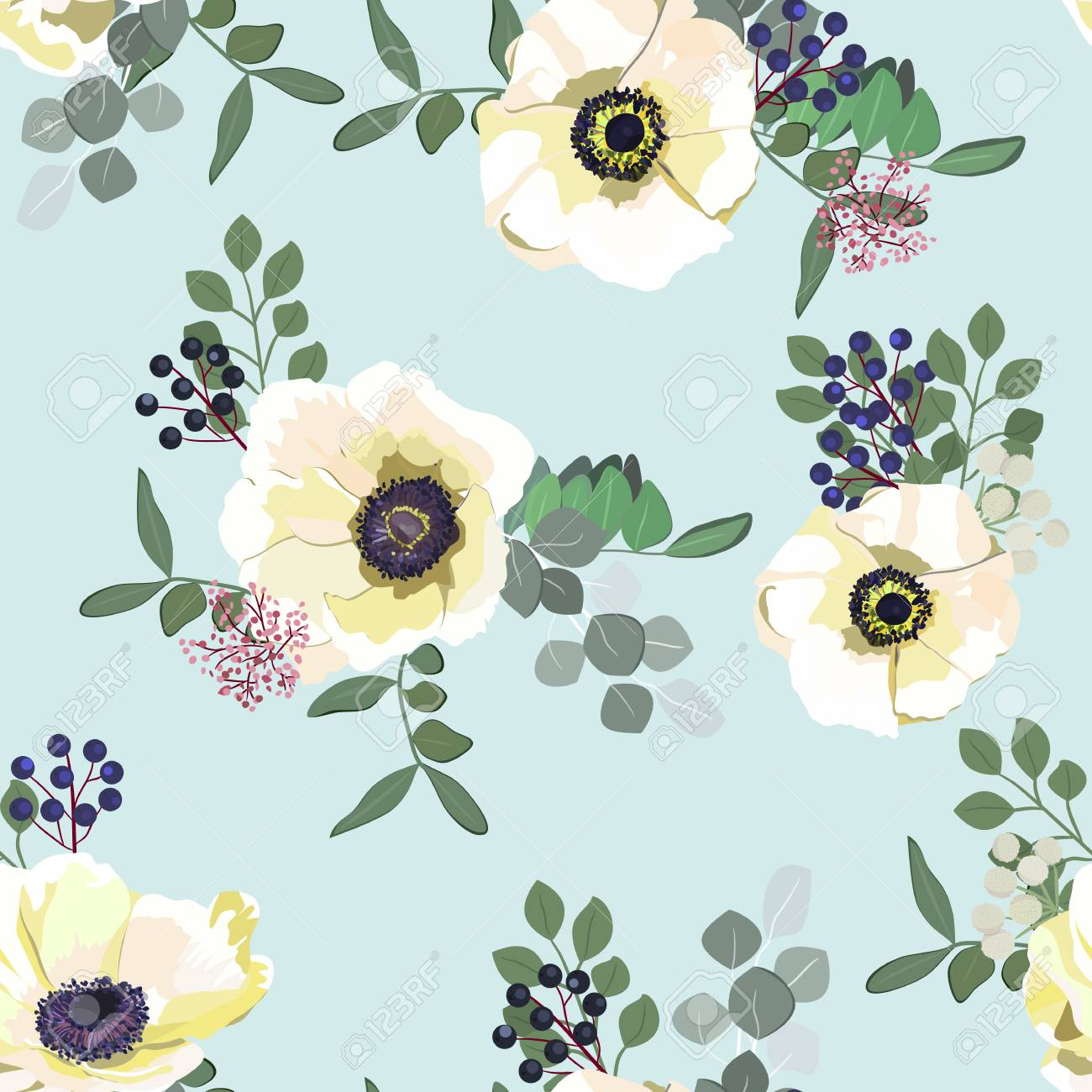 White Anemone Flowers Seamless Pattern Berries And Greenery Royalty Free Cliparts Vectors And Stock Illustration Image 94684091