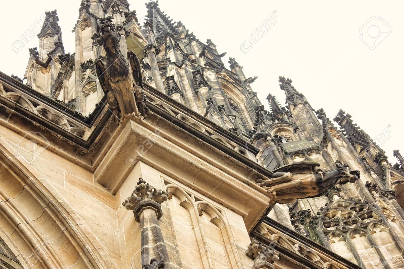 Czech Architecture Scary Gargoyle Sculpture Gothic Temple Decoration Medieval Art Mystic