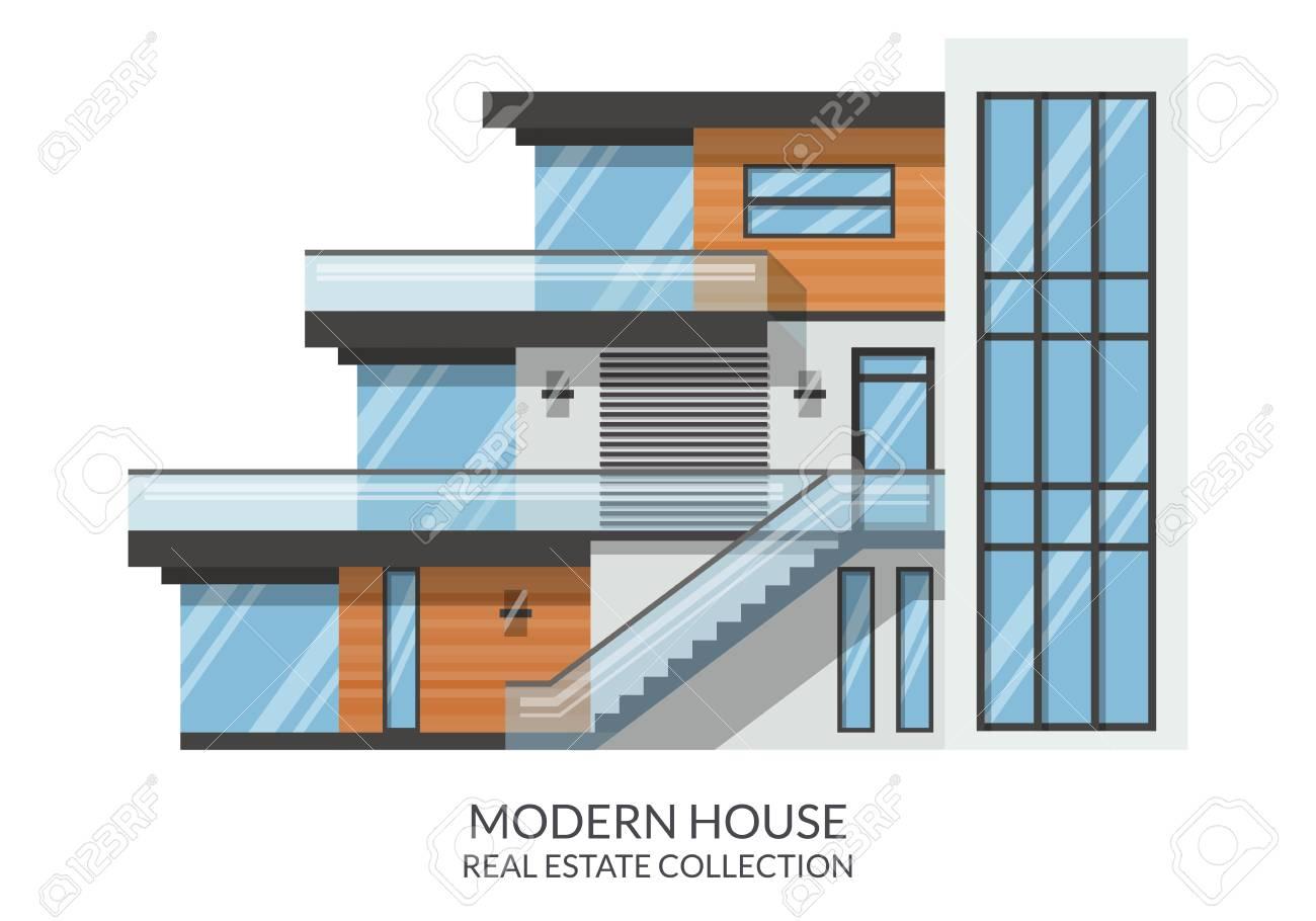 Illustration modern big 3 storey family house real estate sign in flat style vector illustration