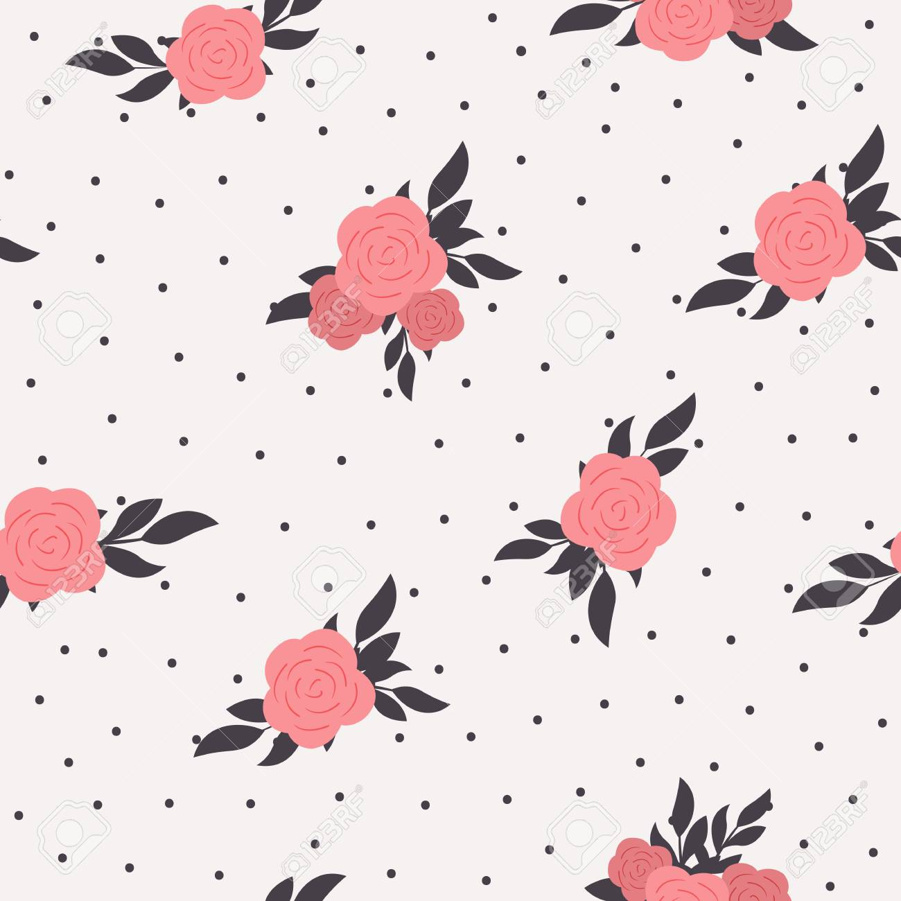 Seamless floral polka dot background. Shabby chic style pattern with pink roses - 121465325