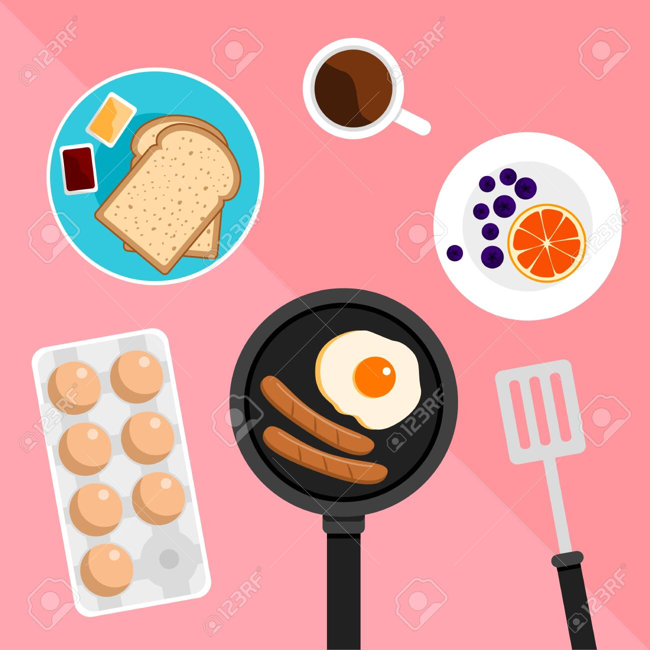 Breakfast set included bread butter jam and fried egg and sausage and orange on pastel pink background - 133620759
