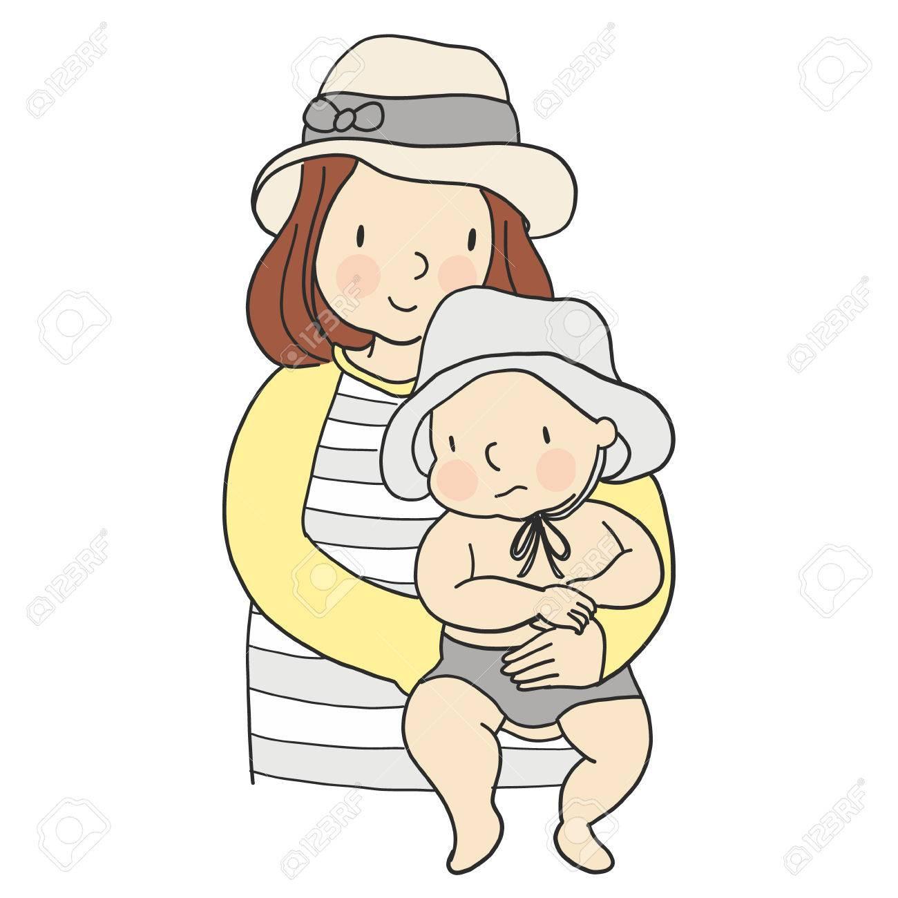 赤ちゃんを腕に抱いてママのベクター イラストです家族の概念 母と子