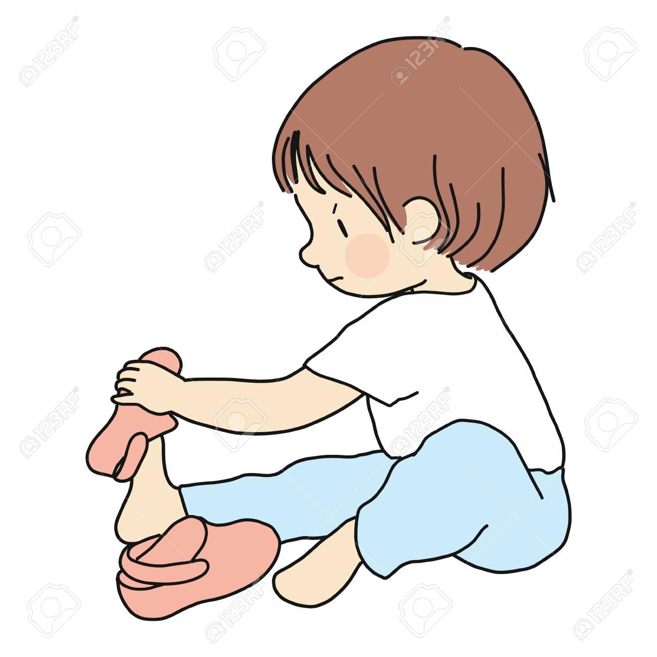 Vector illustration of little toddler sitting on floor and trying to put on his own shoes. Early childhood development, education, learning, dressing skill concept. Cartoon character drawing. - 107037490