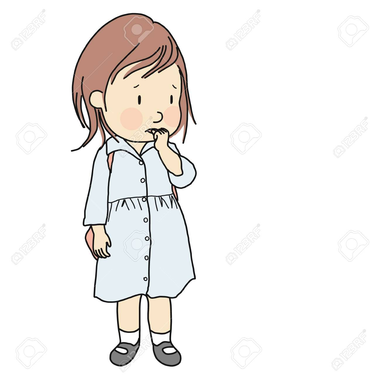 Vector illustration of little kid biting her nail to relieve anxiety, loneliness, stress. Early childhood development, nervous habit, emotional and behavior problem concept. Cartoon character design. - 107037492