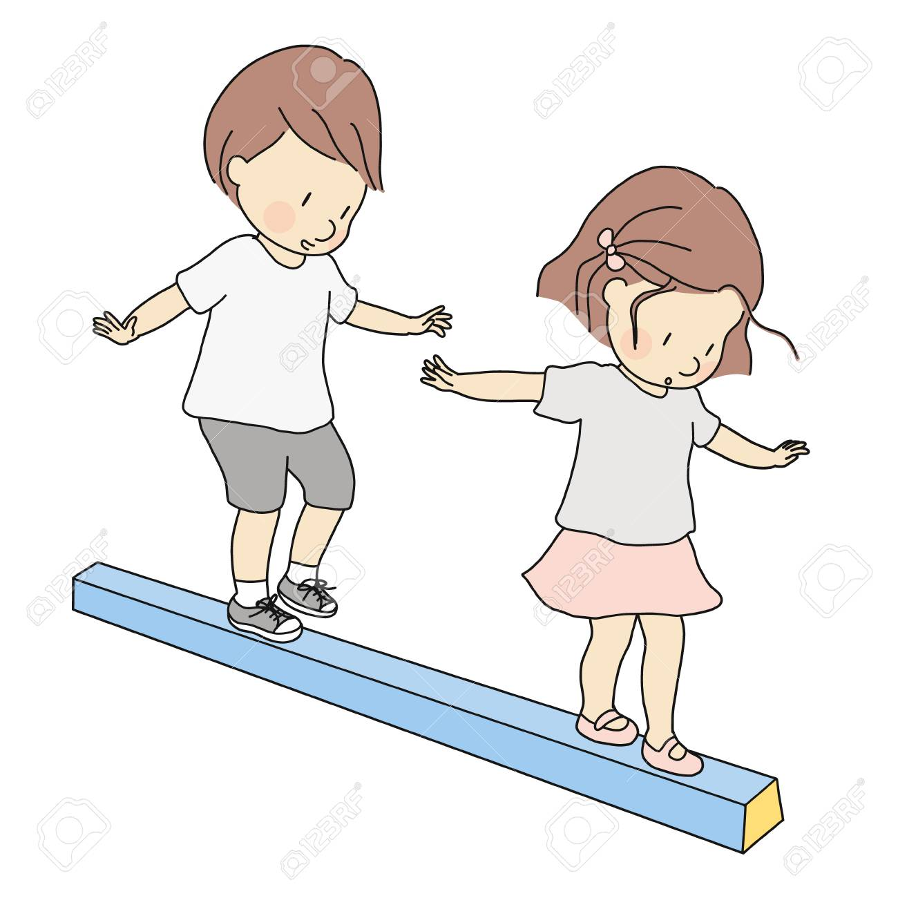 Vector Illustration Of Little Kids, Boy And Girl, Playing Balance ...