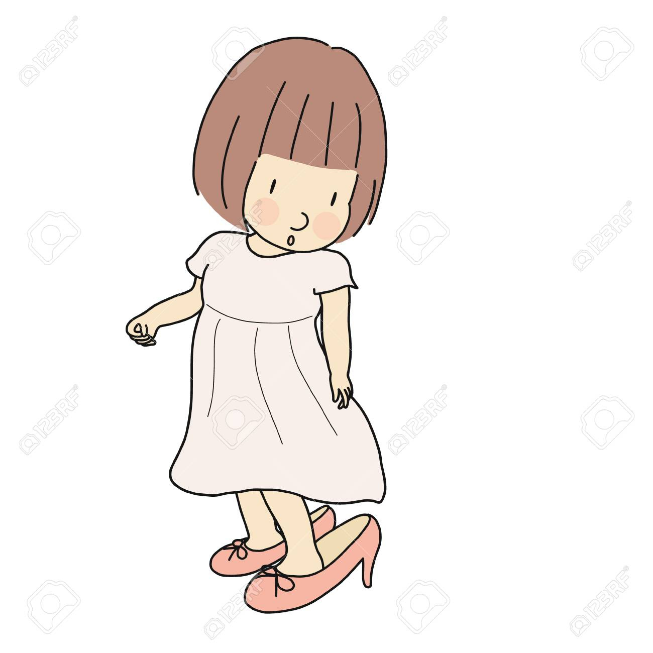 8663527ca15e4 Vector - Vector illustration of little kid girl trying to put on mother's  high heel shoes. Happy children day, child playing, funny concept.