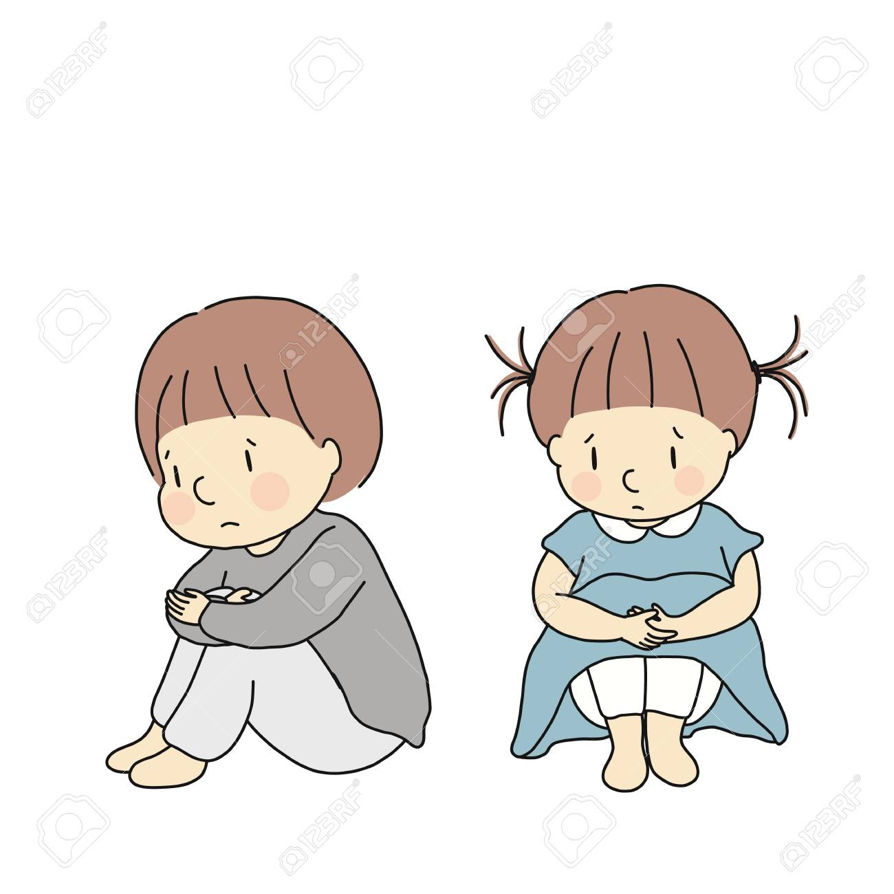 Vector vector illustration of little kids hugging knees feeling sad and anxious child emotion problem concept cartoon character drawing