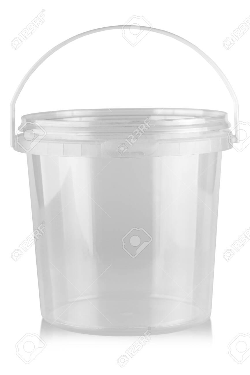Empty plastic food bucket isolated on white - 129996766