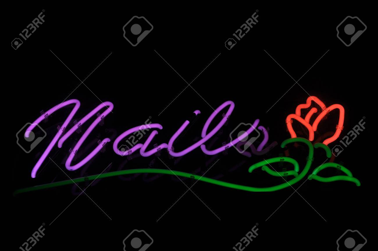 Nails Red Rose Neon Light Sign Stock Photo Picture And Royalty Free