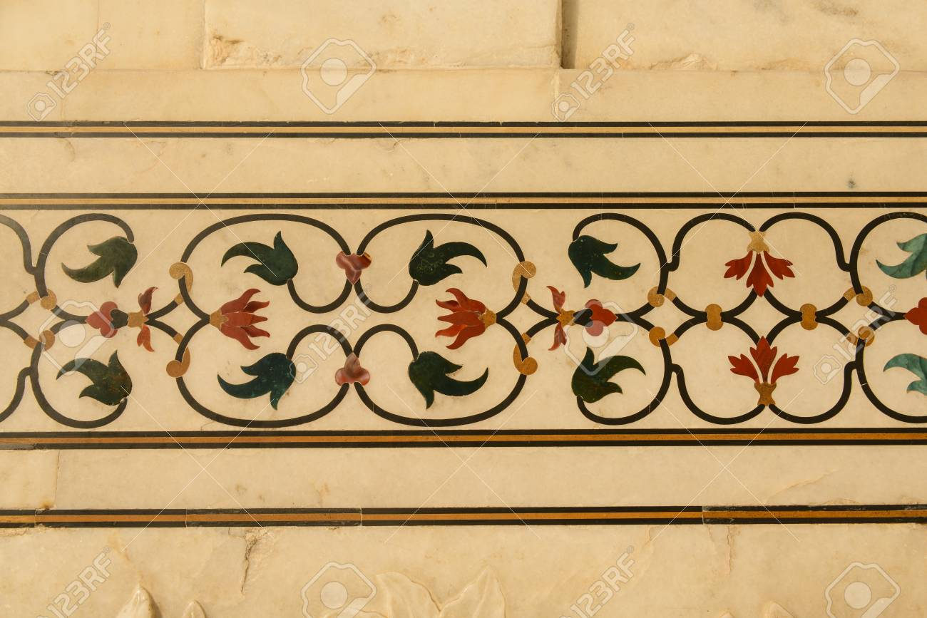 Details Of Flowers Carved Into The Taj Mahal Stock Photo, Picture ...