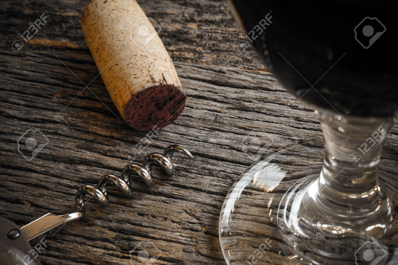 Nice Wine Glass With Cork And Corkscrew On Rustic Wood Table Stock Photo    34325789