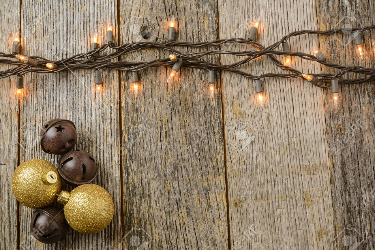 Christmas Tree Lights With Rustic Wood Background And Gold ...