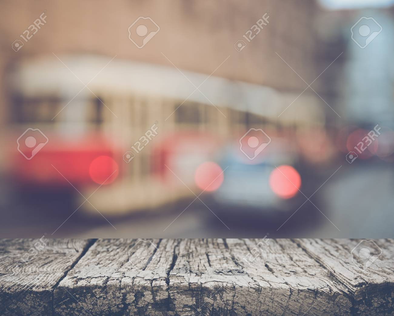Blurred Train with Retro Style Filter - 55007596