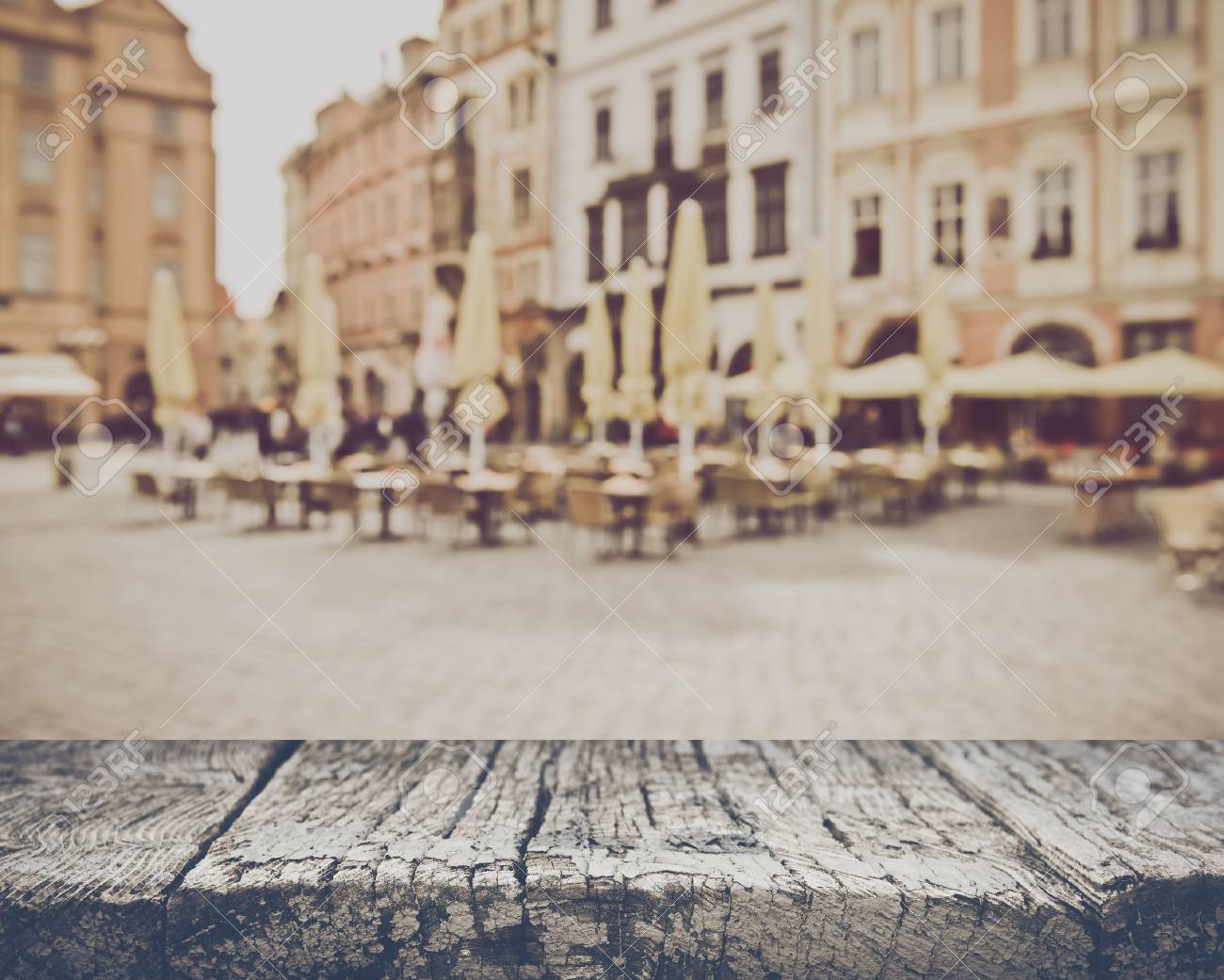 Blurred Empty Cafe in European City - 55007976