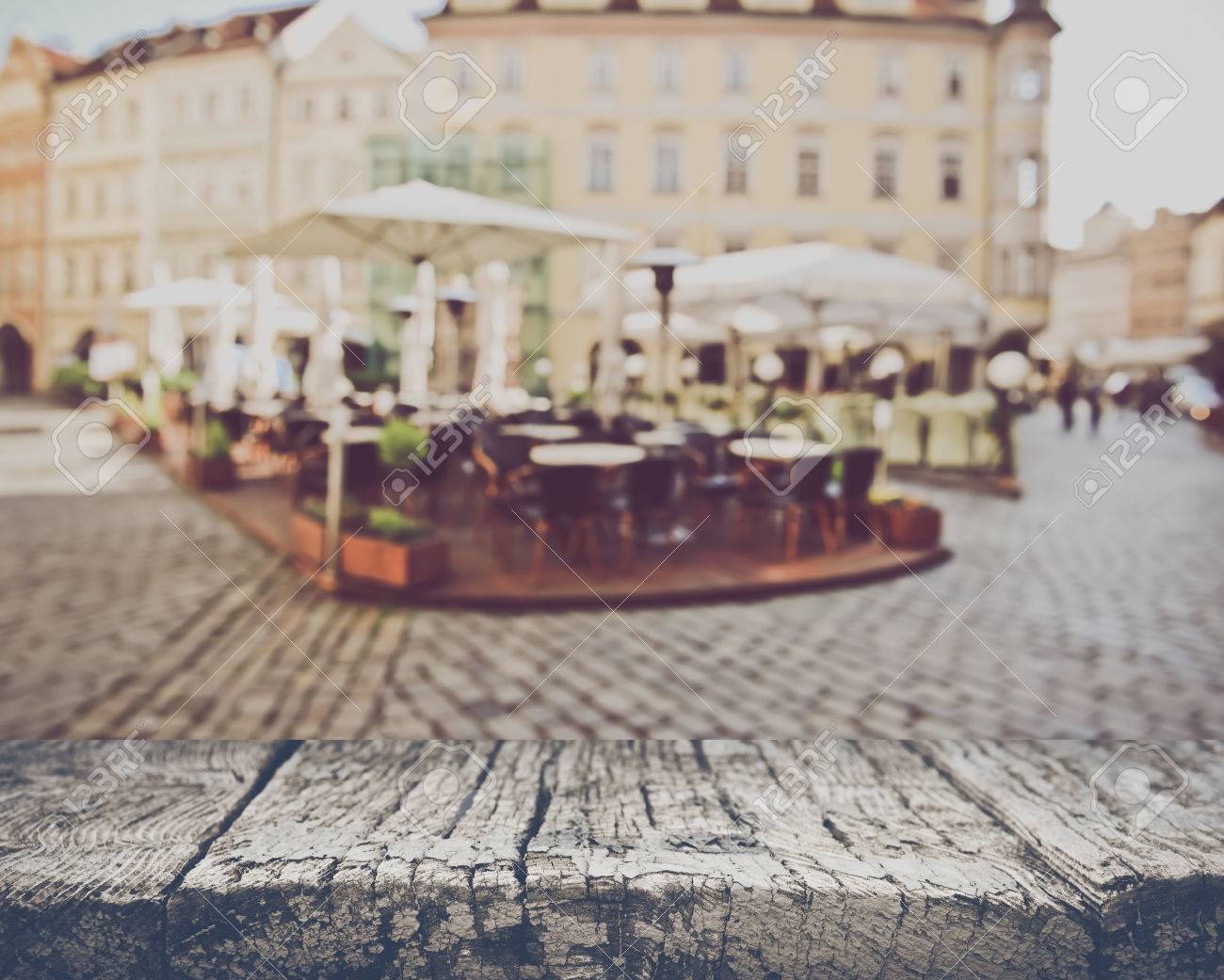 Blurred Empty Cafe in European City - 55008000