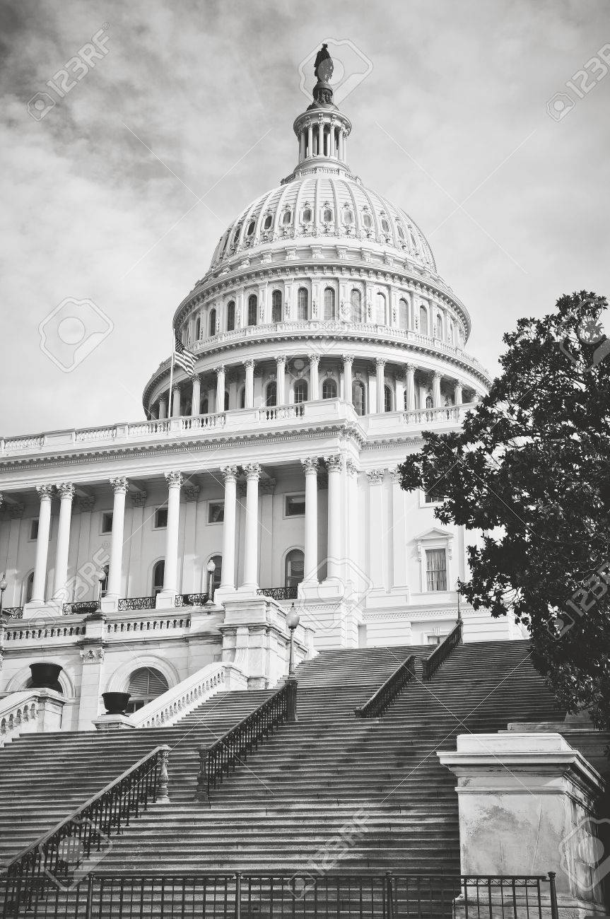 Capitol Hill Building in Washington DC with Vintage Filter - 63468254