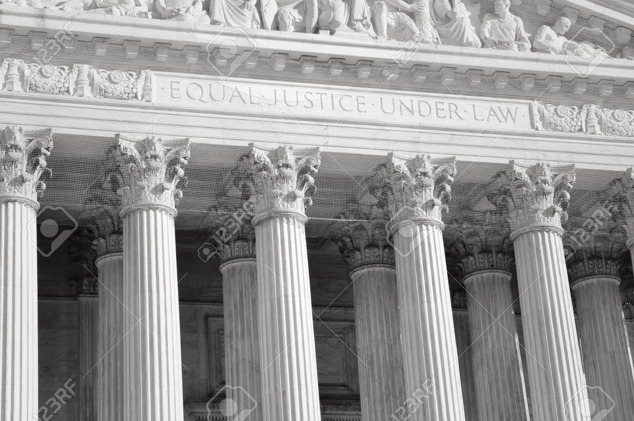 United States Supreme Court Pillars of Justice and Law with Retro - 63468281