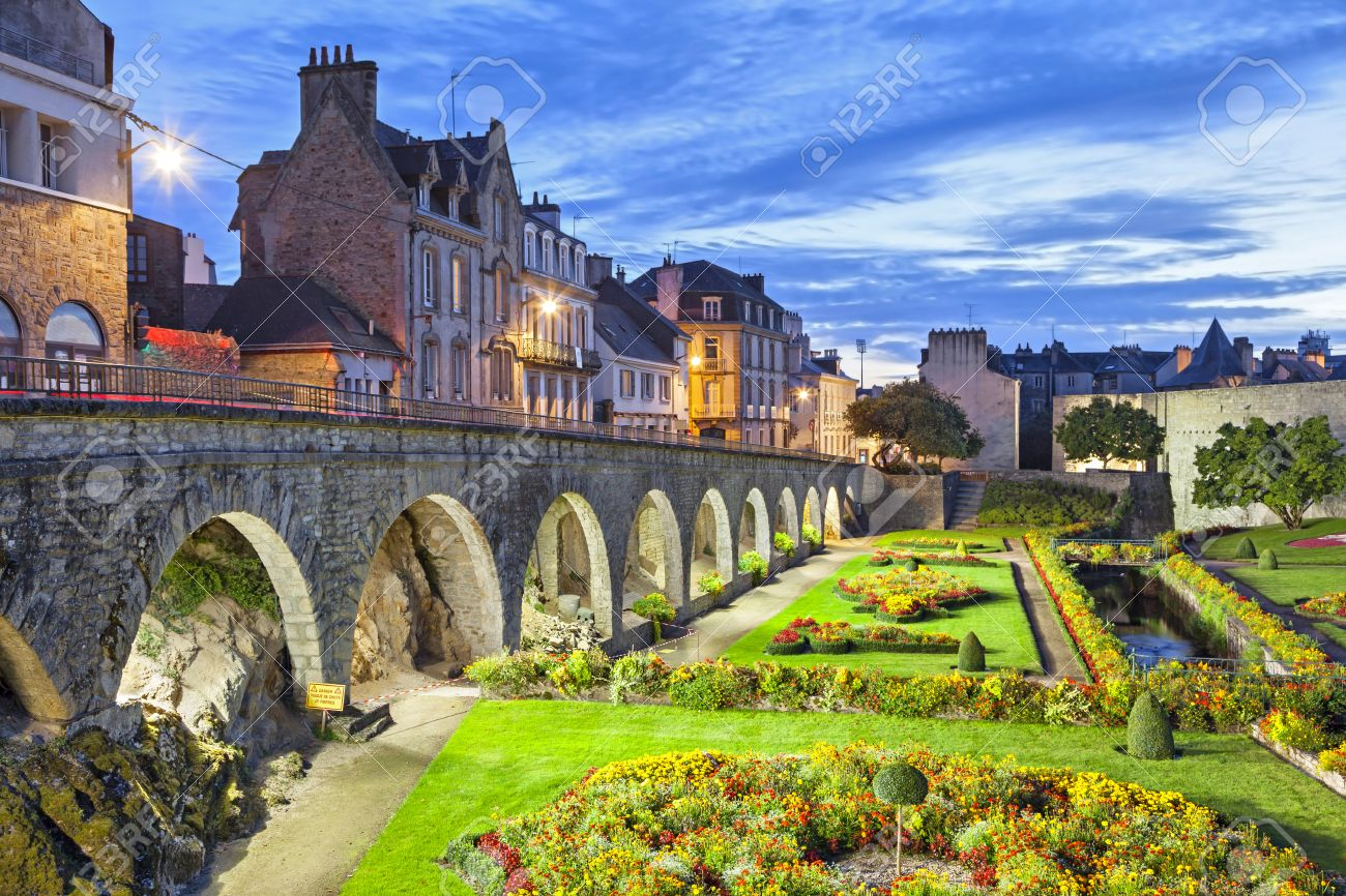 Flower Garden At The Walls In The City Vannes, Brittany, France Stock Photo
