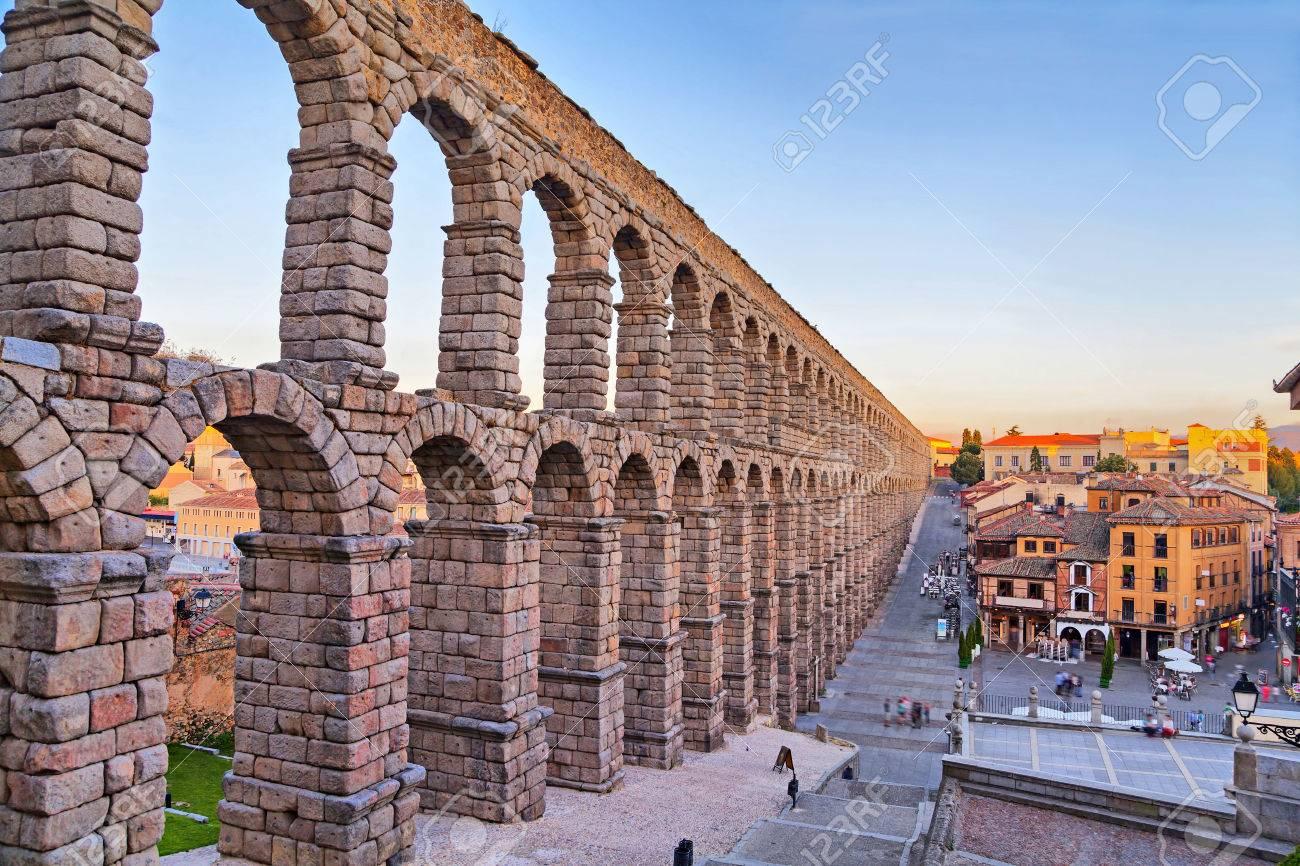 ancient roman aqueduct on plaza del azoguejo square in segovia