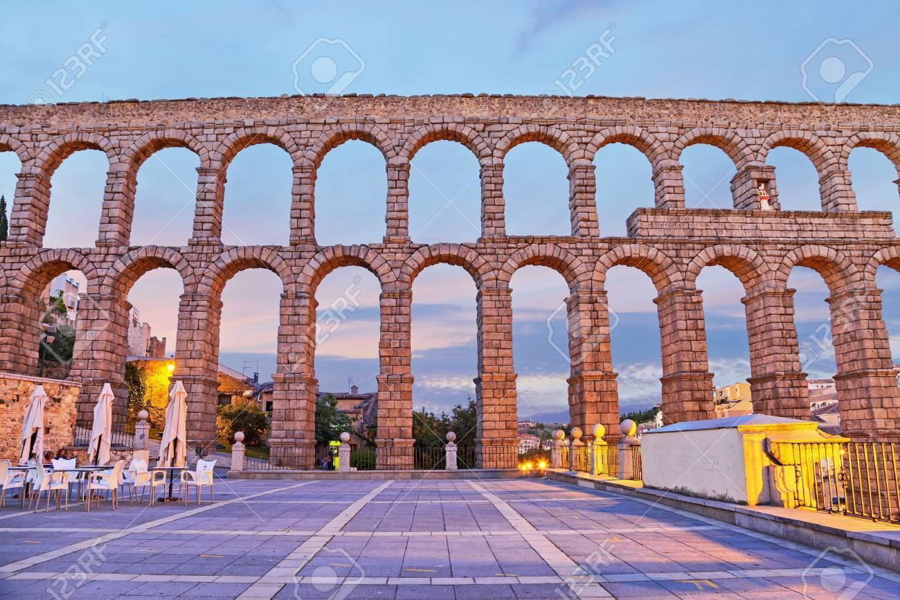ancient roman aqueduct on plaza del azoguejo in segovia spain