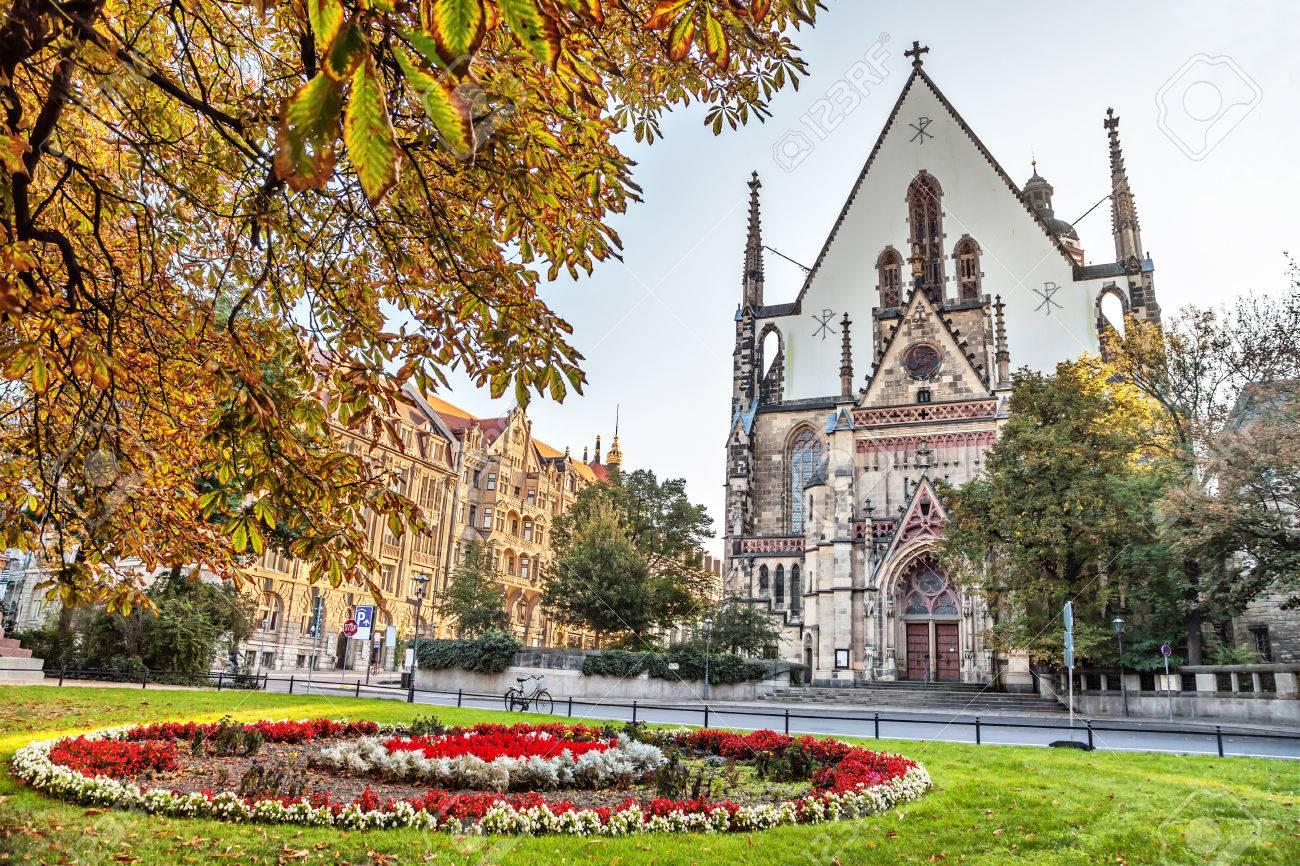 Facade of St. Thomas Church Thomaskirche in Leipzig, Germany - 48663100
