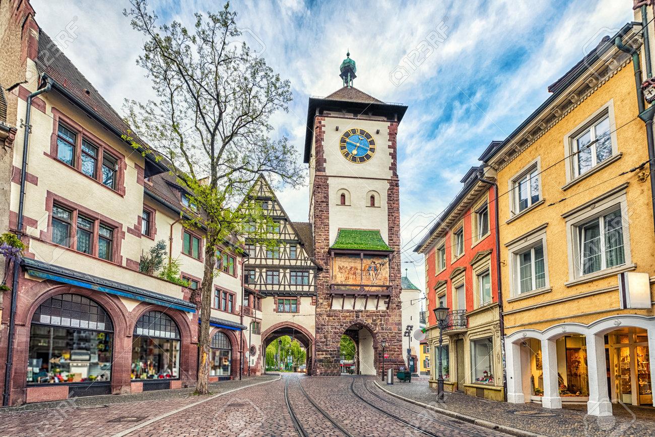 schwabentor historical city gate in freiburg im breisgau baden