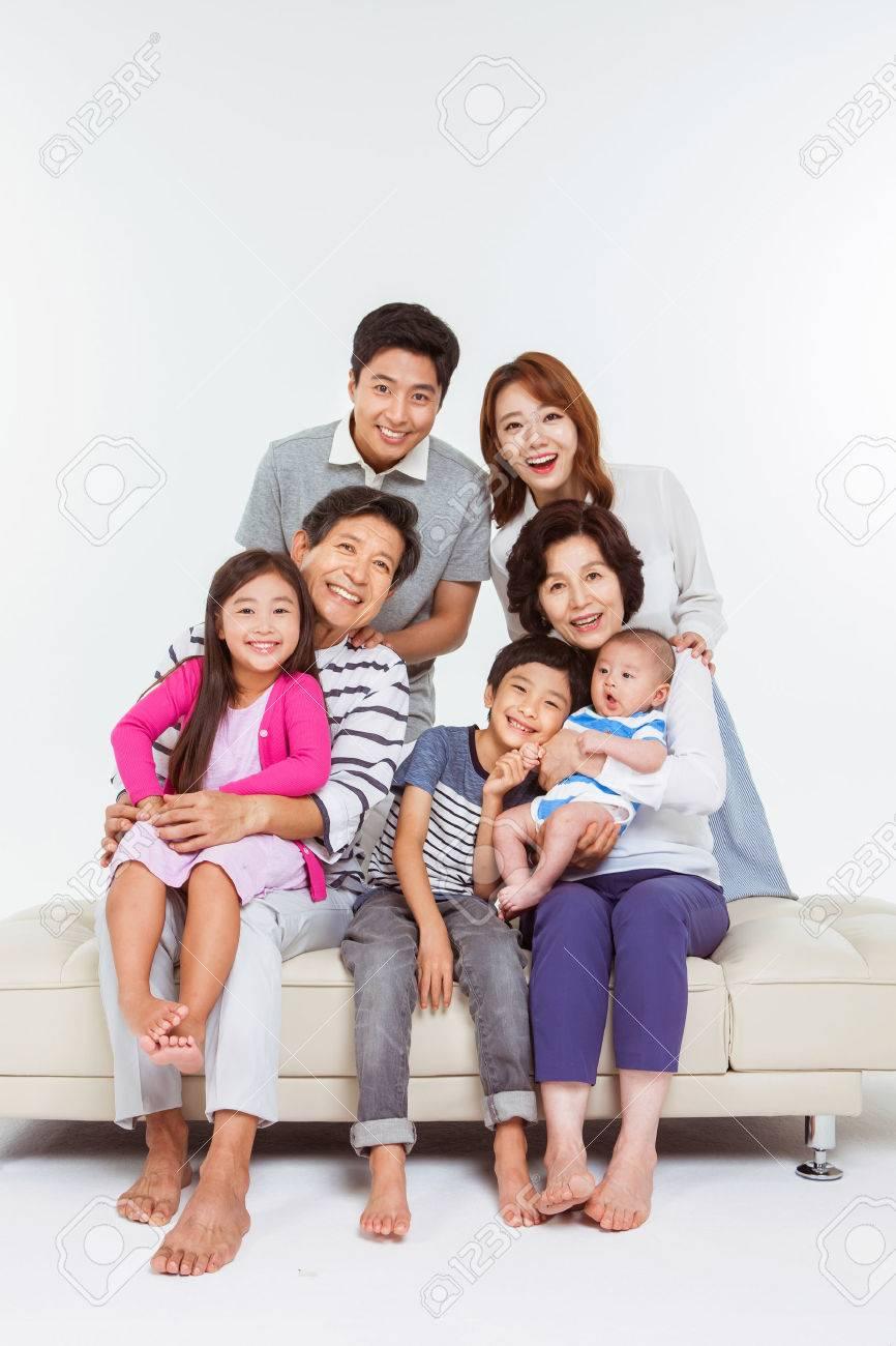Portrait of Happy Asian Family - 70604442