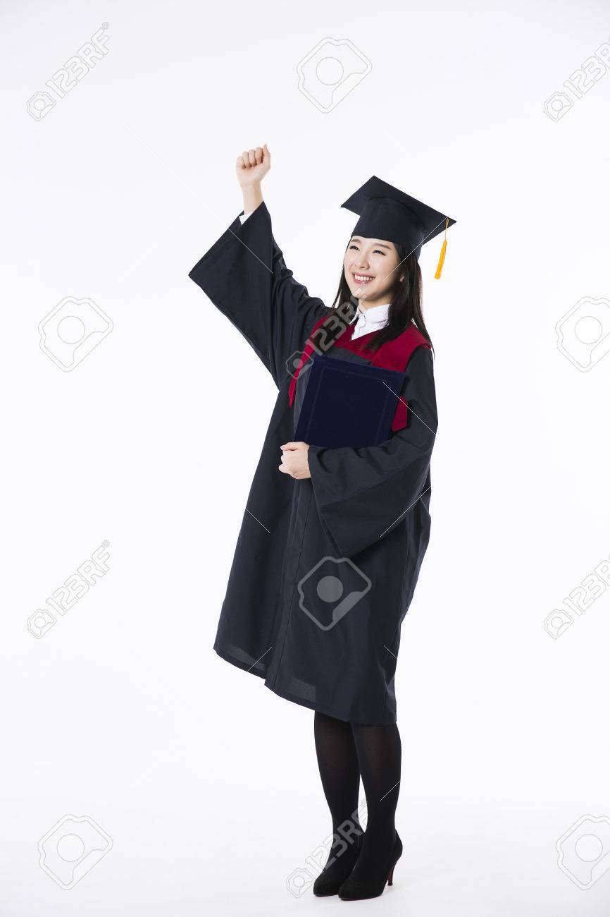 Young Asian Students In Black Graduation Gown- Isolated On White ...
