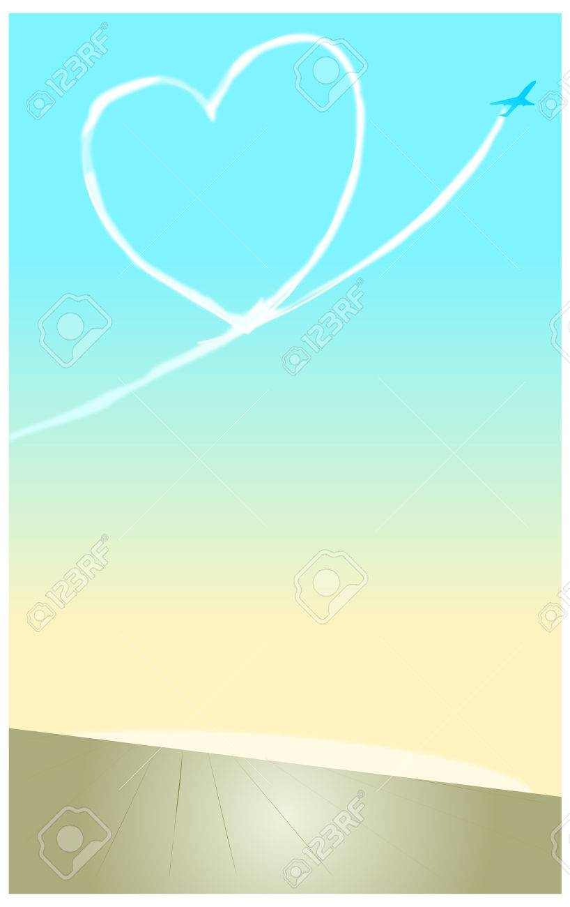 空にはハートの飛行機雲のイラスト素材ベクタ Image 72944212