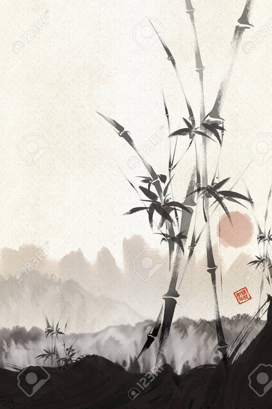 Chinese painting -bamboo with the sun in the background