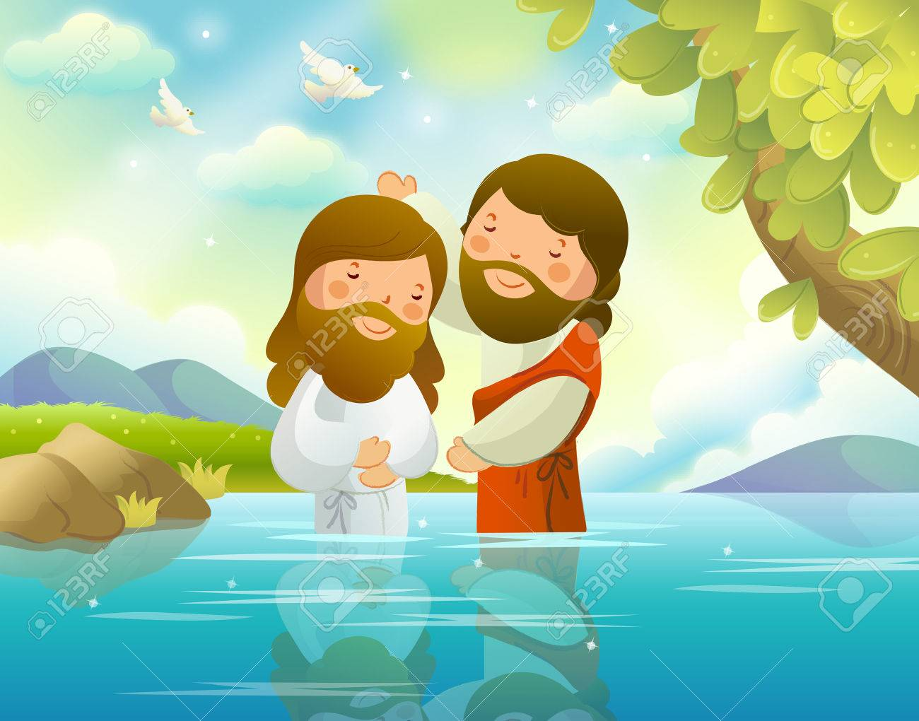 Baptism Of Jesus Christ By John The Baptist Stock Vector
