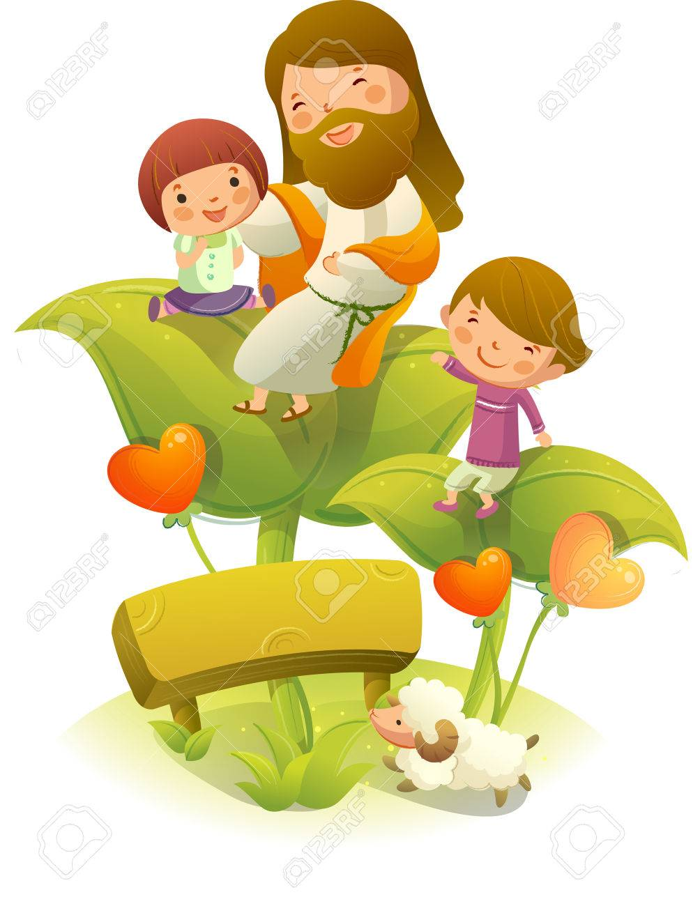 Jesus Christ Sitting On A Plant With Two Children Royalty Free ...