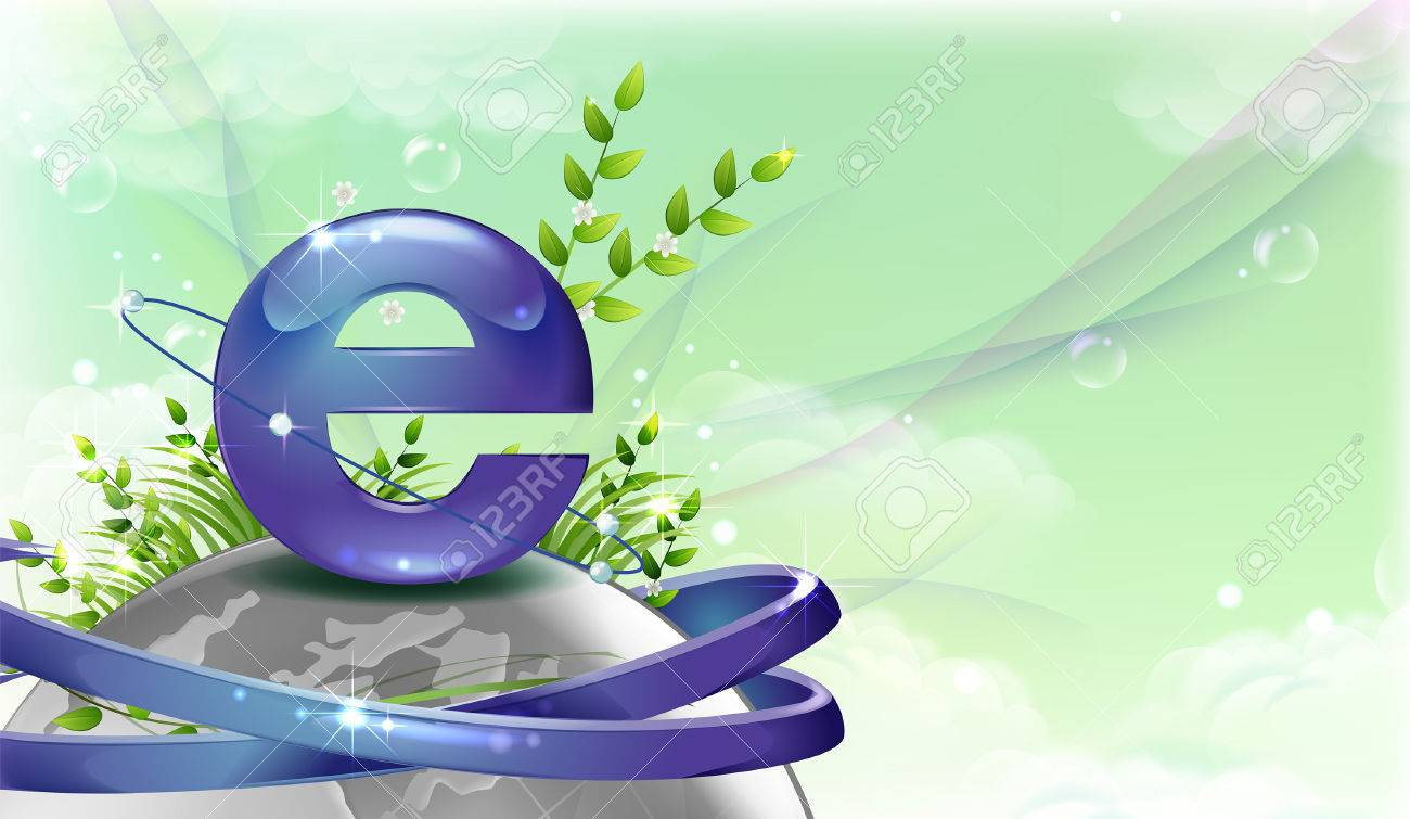 Internet Explorer Symbol Over The Globe Royalty Free Cliparts